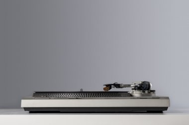 Vinyl player detail with copy space