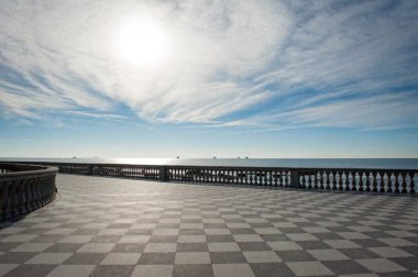 Mascagni terrace in front of the sea, Livorno. Tuscany, Italy.