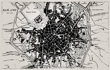 Historical map of Milan, Italy.