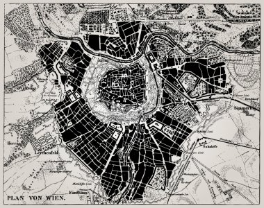 Historical map of Wien, Austria.