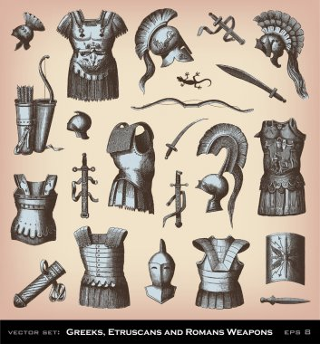 Engraving Greeks, Etruscans and Roman Weapons illustrations. stock vector