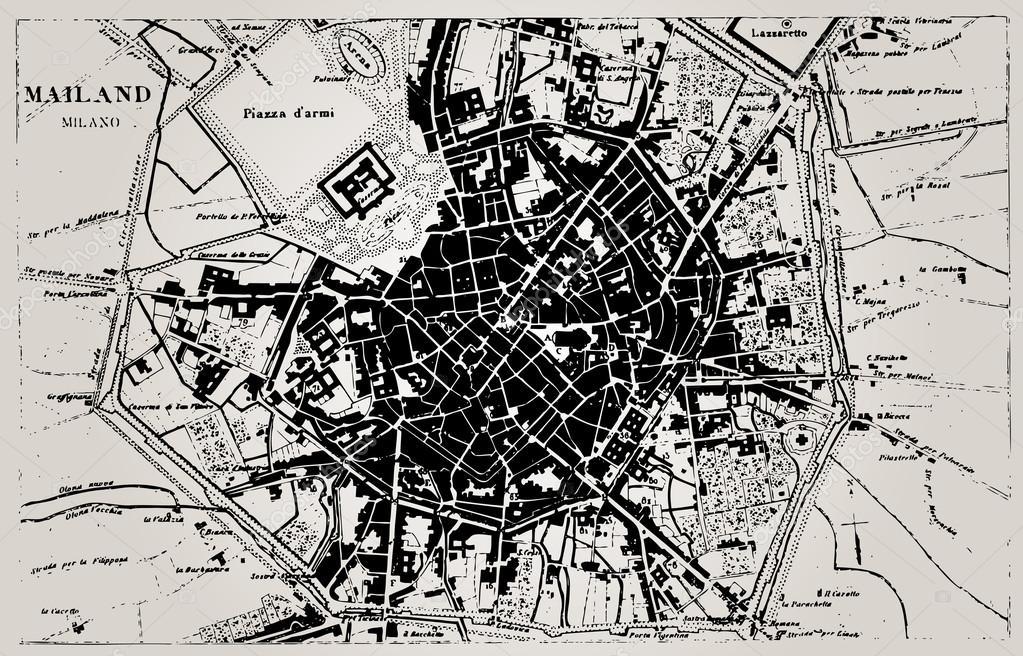Historical map of Milan, Italy. — Stock Vector © pio3 #22178421