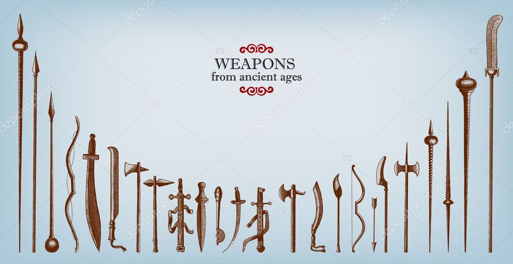 Engraving vintage old weapons illustrations. stock vector