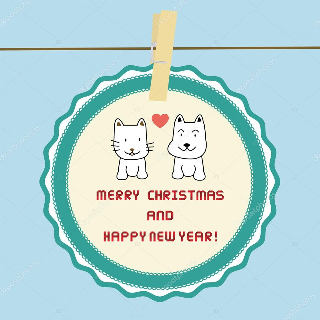cat and dog in love merry christmas and happy new year card for everyone vector by gubgibgift