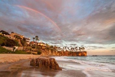 Rainbow over Southern Californian Beach