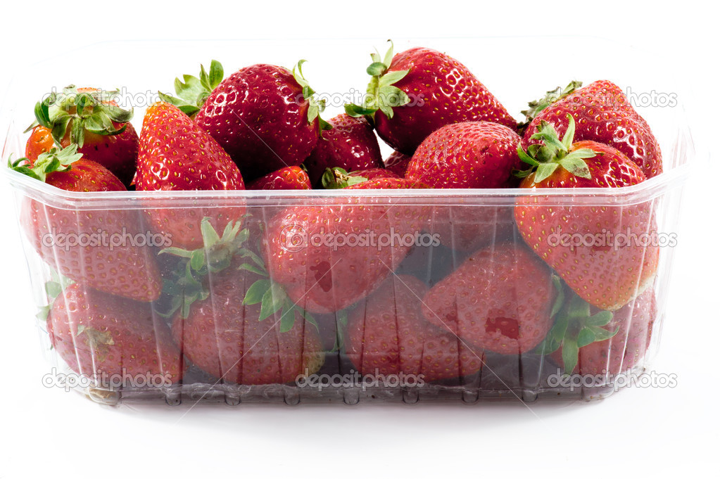 closeup strawberries packged
