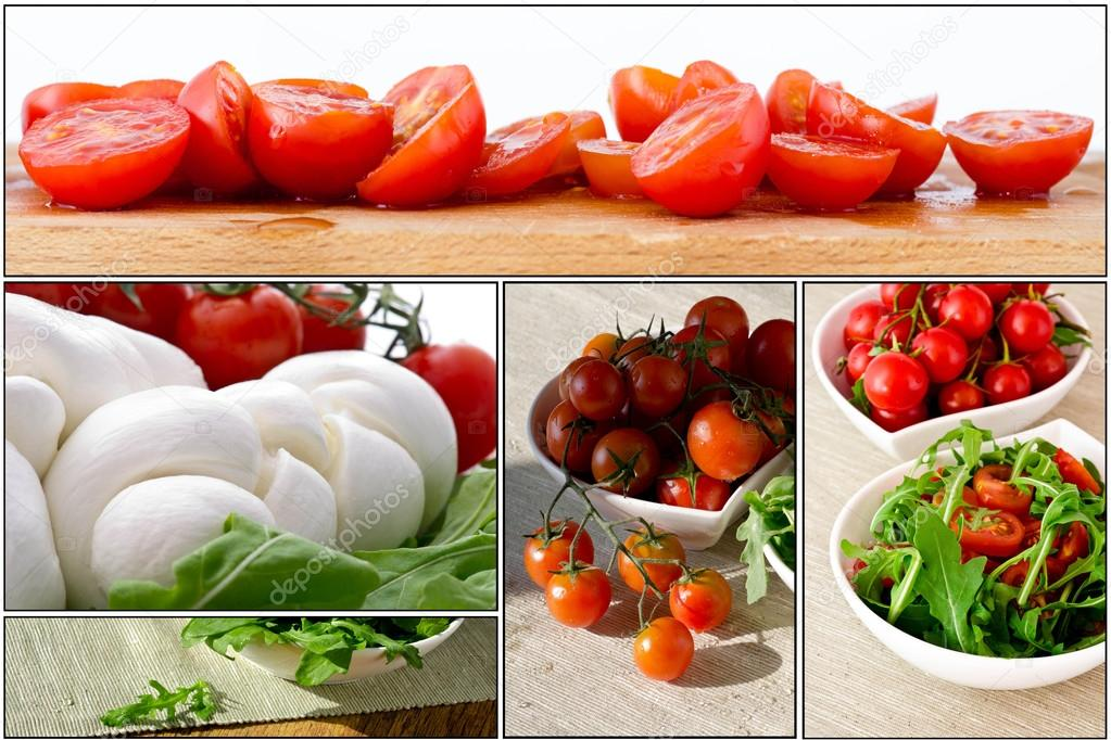 Fresh salad with cherry tomatoes, rucola, mozzarella - collage