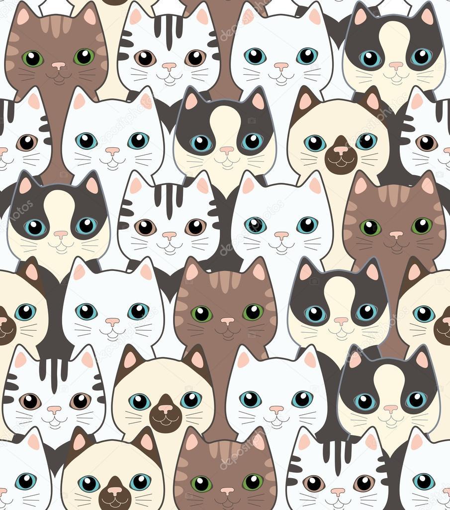 gatos graciosos dibujos animados. patrón sin costuras — Archivo ...