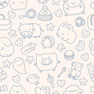 Seamless pattern with cute cartoon animals