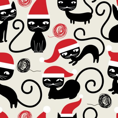 Christmas cats seamless pattern. Cute funny seamless pattern with cats