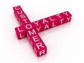 Fotografie Customer loyalty crossword on white background, 3D rendered illu