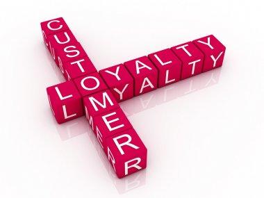 Customer loyalty crossword on white background, 3D rendered illu