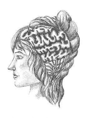 Sketch of human brain and a woman's face painted in scrawl style. trace of pattern