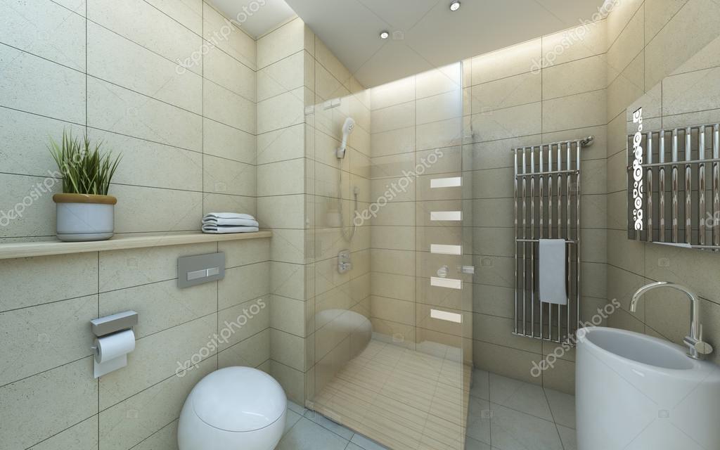 Világos bézs fürdő fehér csempe — Stock Fotó © krooogle #14632967