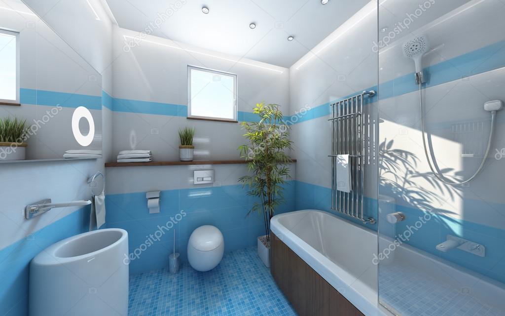 Piastrelle bianche luce bagno blu foto stock krooogle - Piastrelle bagno blu ...