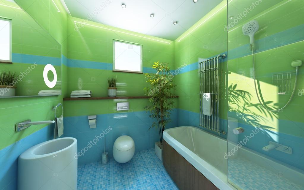 Napfény fürdőszoba csempe fényes zöld — Stock Fotó © krooogle ...