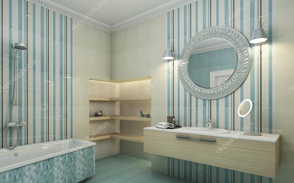Specchio rotondo di piastrelle bagno blu foto stock - Specchio rotondo bagno ...