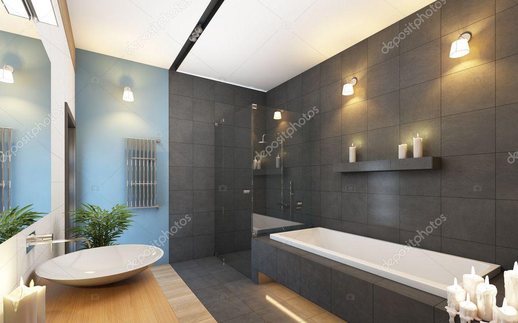 Badezimmer In Den Farben Grau Und Blau U2014 Foto Von Krooogle