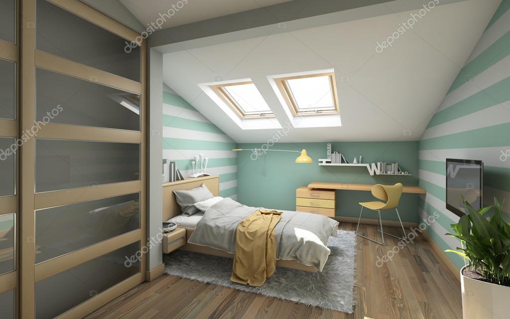 Hellen Teenager Zimmer Auf Dem Dachboden U2014 Foto Von Krooogle
