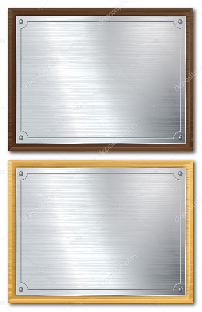 Silver Plaque On Dark Or Light Wood