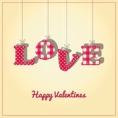 Valentines Card or background with the letters of Love hanging from string. clip art vector