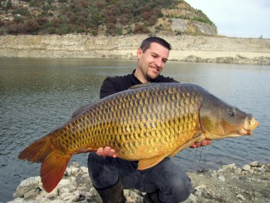 Fishing scene. common carp