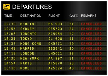 Flights departures board isolated on white background. Cancelled flight stock vector