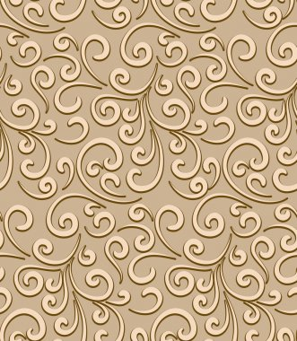 Abstract seamless pattern, decorative floral swirls, vintage gold background stock vector