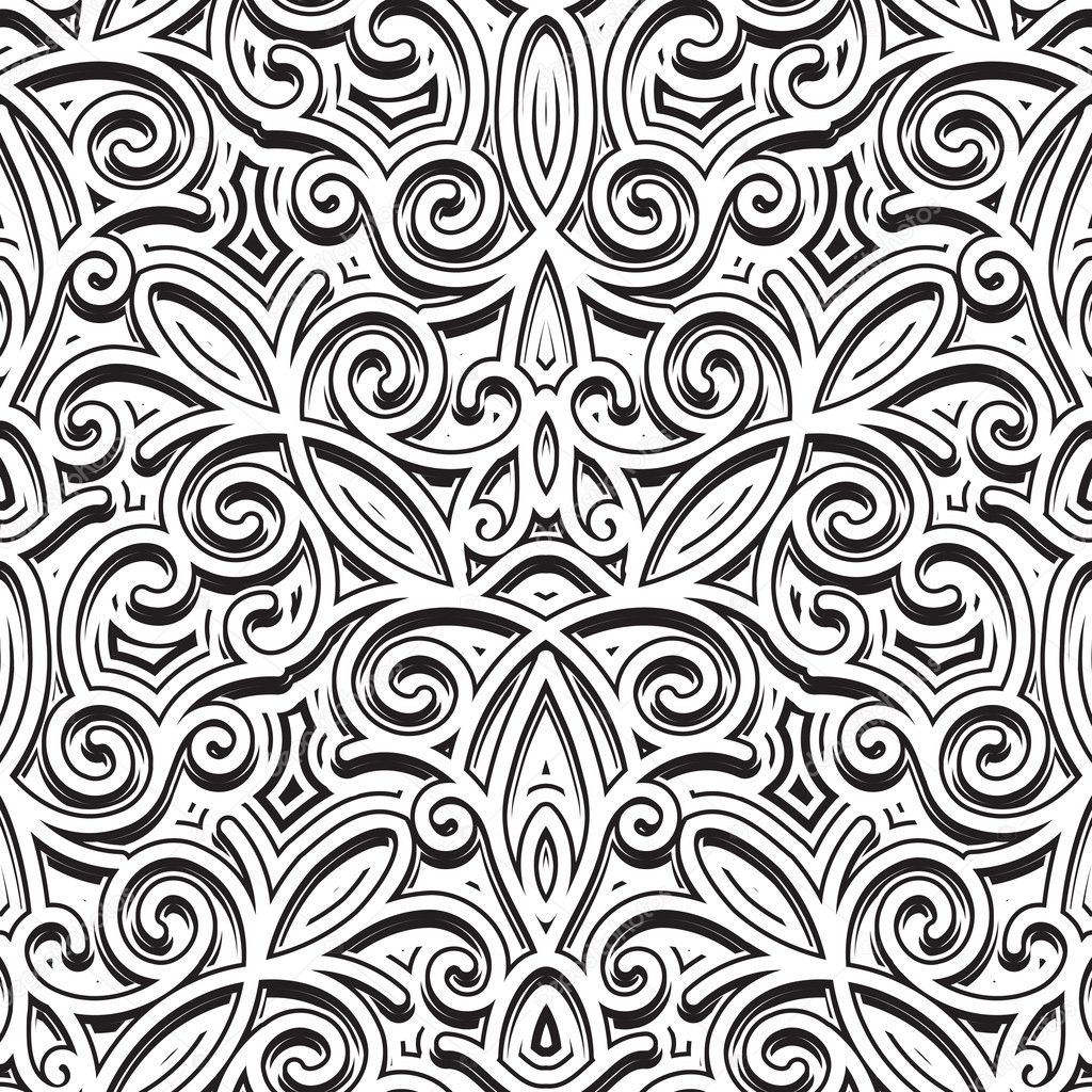 Vintage ornament, black and white seamless pattern clipart vector