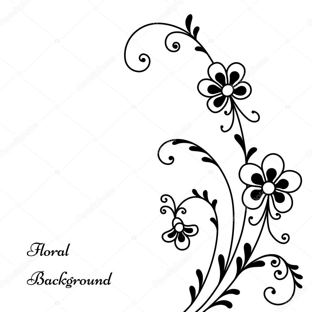Vectores Descargar Flores Negras Flores Negras Sobre Fondo Blanco
