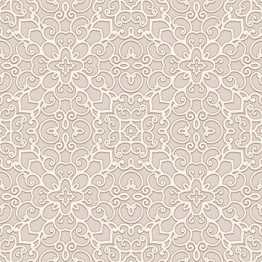 Ornamental beige background, seamless pattern clip art vector