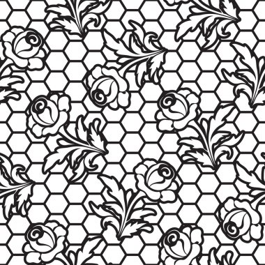 Seamless lace rose pattern