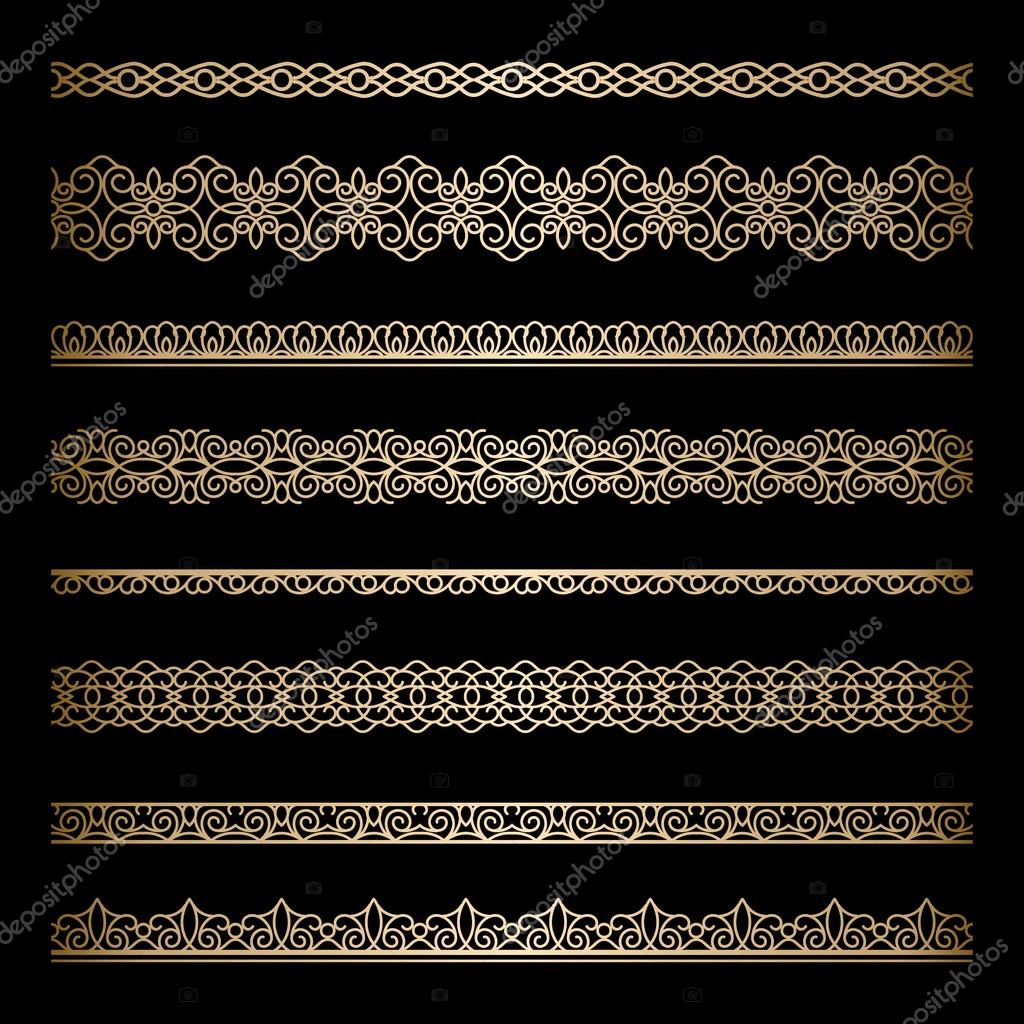 Set of vintage gold borders on black clipart vector