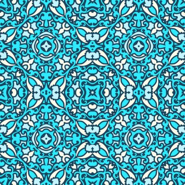 Damask blue pattern
