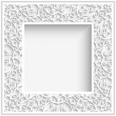 Abstract square frame with paper swirls, ornamental white background stock vector
