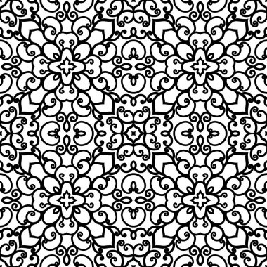 Black and white swirly ornament, seamless pattern clip art vector
