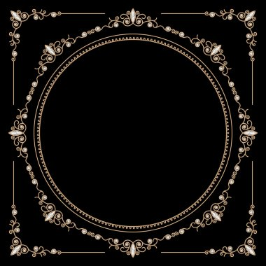 Jewelry gold round frame