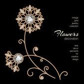 zlaté šperky květiny