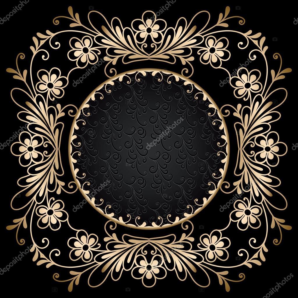 marco de Círculo Dorado en negro — Archivo Imágenes Vectoriales ...