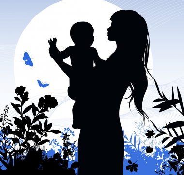 Happy family - women and her child.