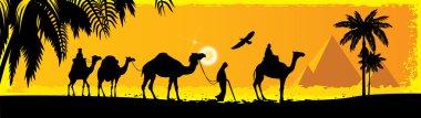 Camels on the desert.