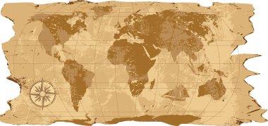 A grunge, rustic world map