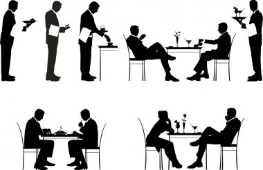 Silhouette of couples and a waiters.