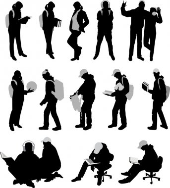 Lots silhouettes of students.