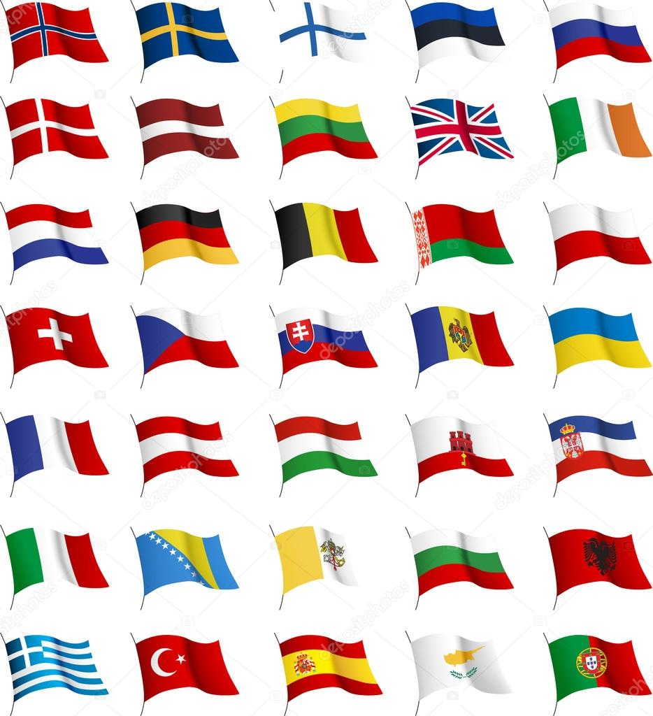 All European flags.