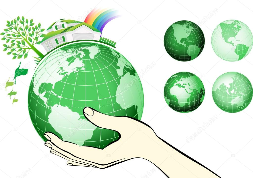 Earth globe in hands protected.