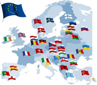 European country flags and map.