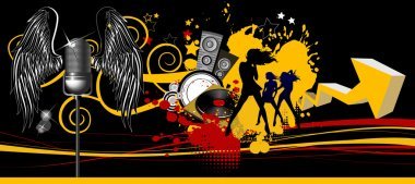 Music background. Dancing people.