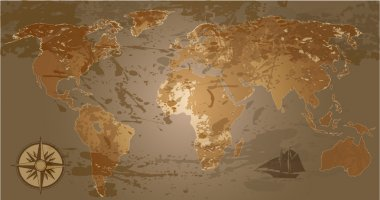 Grunge, rustic world map