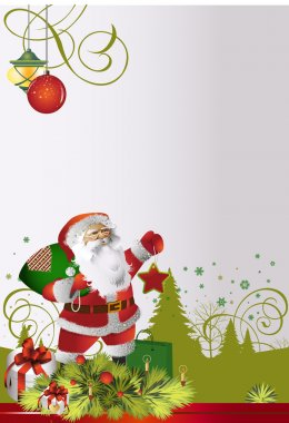 Card with santa clause claus